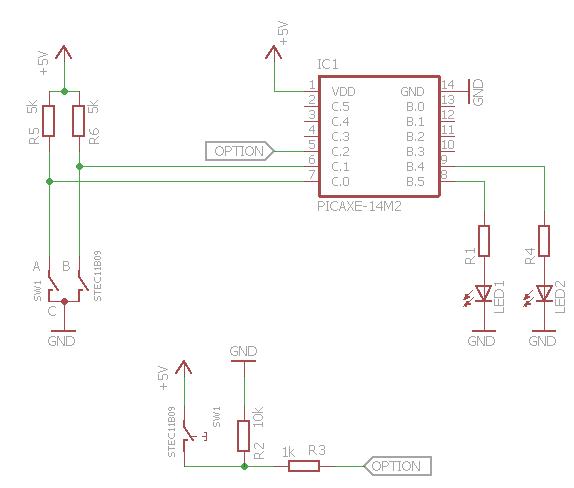Schaltplan ALPS Encoder STEC11B09 an PicAxe 14M2