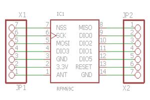 Eagle Schaltplan von HOPERF RFM69 Adapter